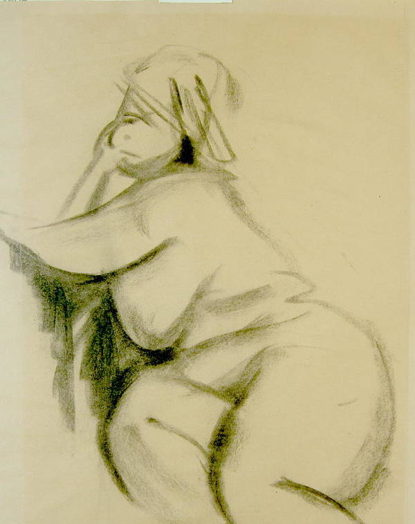 Charcoal Sketch Poster featuring the print Nude Study by Howard Stroman