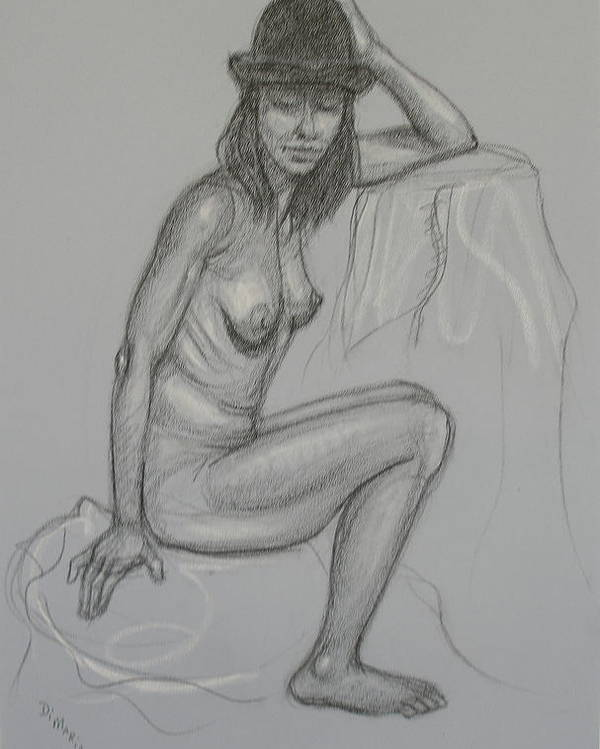 Realism Poster featuring the drawing Nude With Hat 1 by Donelli DiMaria