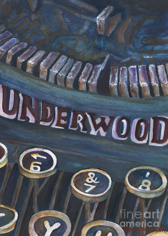 Typewriter Poster featuring the painting Number 7 by Barb Pearson