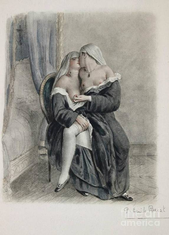Nuns Making Love Poster By Paul Emile Becat