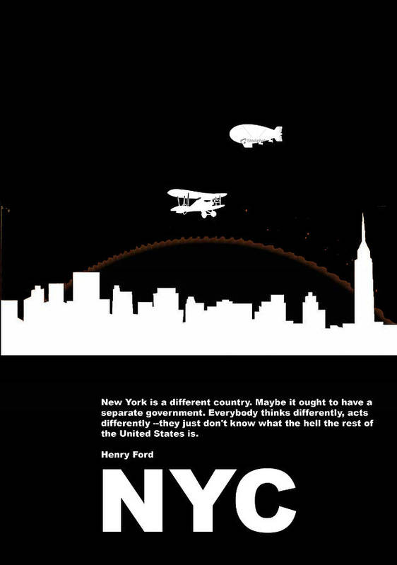 New York Poster featuring the photograph Nyc Night Poster by Naxart Studio