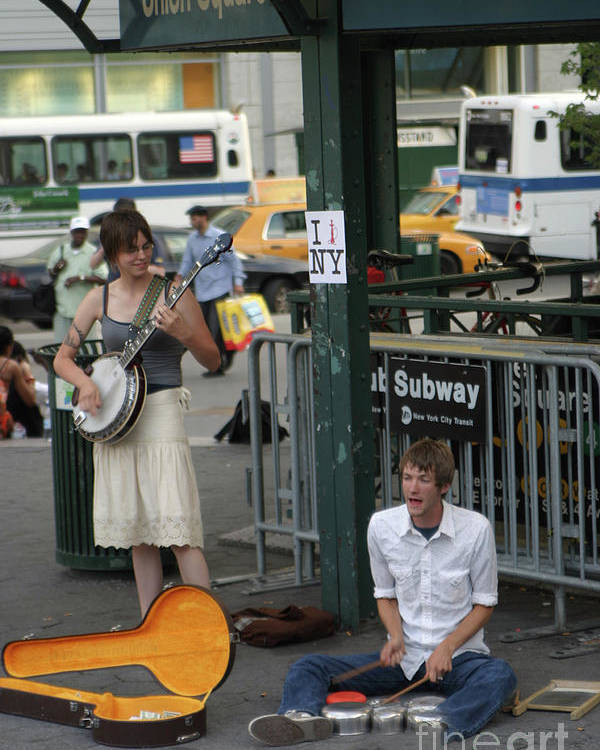 New York Poster featuring the photograph Nyc Street Musicians Banjo by Chuck Kuhn
