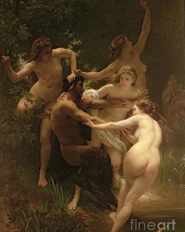 Nymphs And Satyr Poster featuring the painting Nymphs And Satyr by William Adolphe Bouguereau