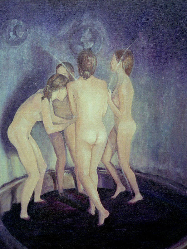 Nude Poster featuring the painting Nymphs Playing by Masami Iida