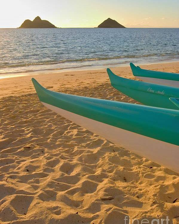 Beach Poster featuring the photograph Oahu, Outrigger Canoes by Tomas del Amo - Printscapes