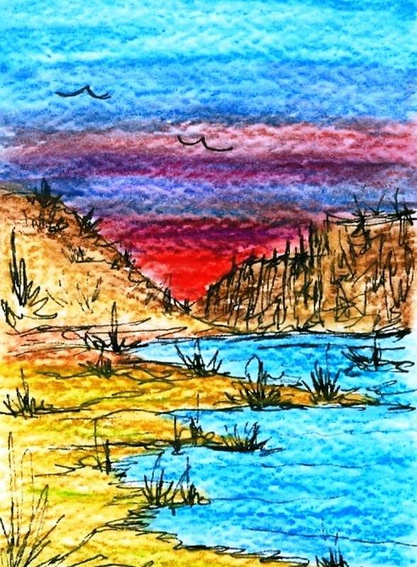 Desert Poster featuring the painting Oasis by Margie Byrne