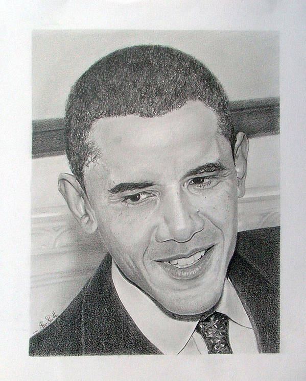 Obama Poster featuring the drawing Obama by Felipe Galindo