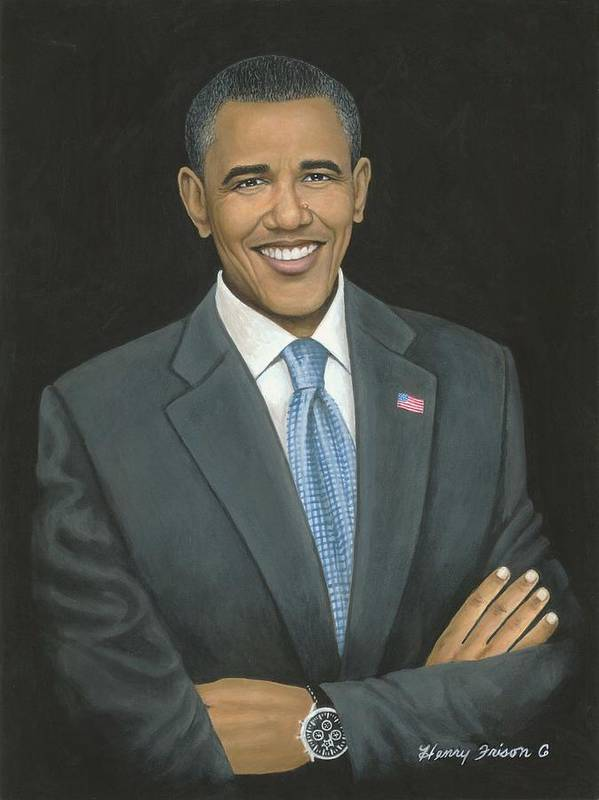 Presidents Poster featuring the painting Obama by Henry Frison