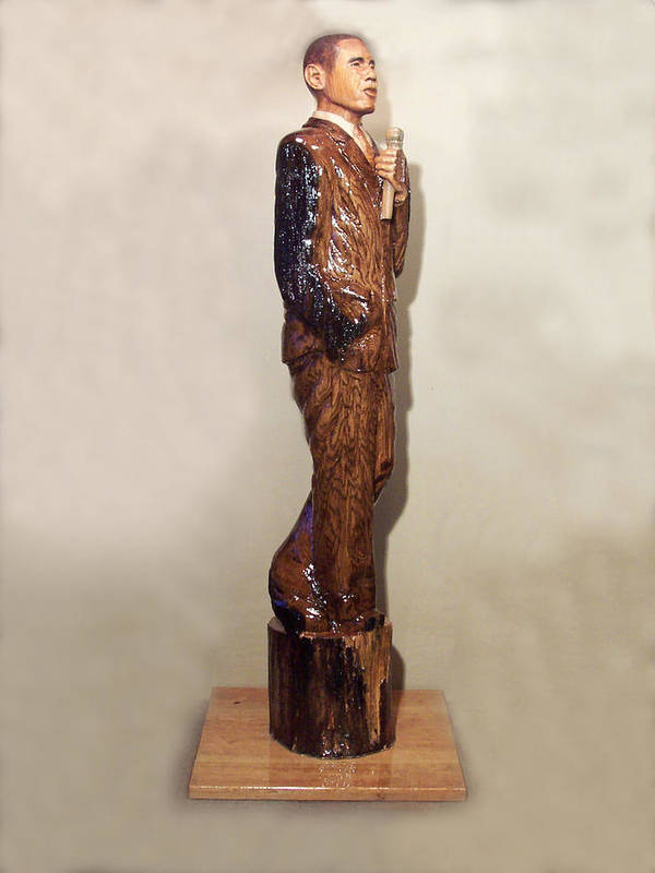 President Poster featuring the sculpture Obama In A Red Oak Log by Robert Crowell