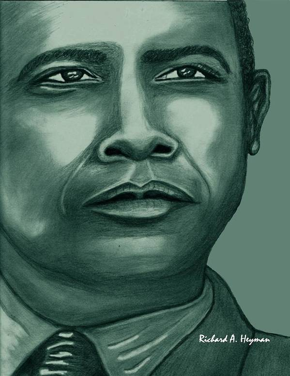 Political Poster featuring the drawing Obama In Bronze by Richard Heyman