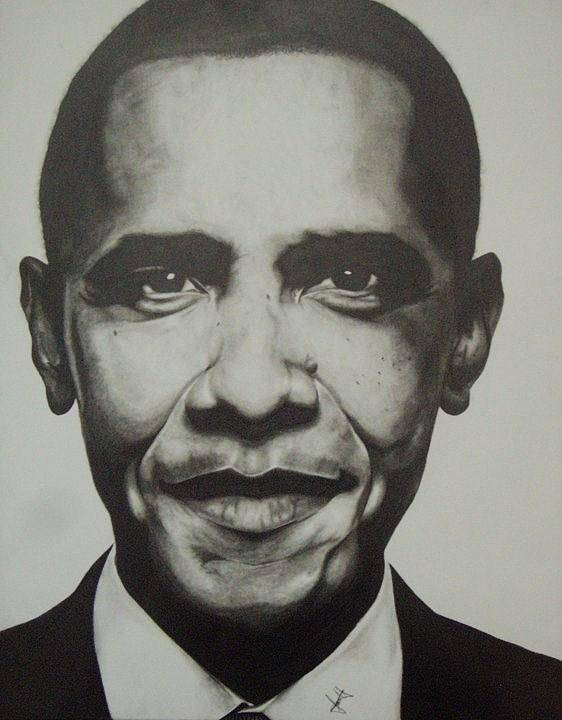 Barack Obama Poster featuring the drawing Obama by Jane Nwagbo