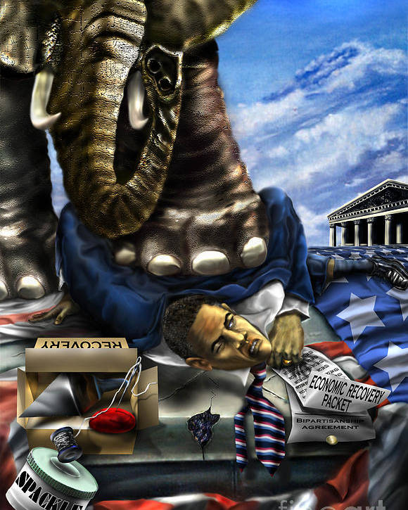 Political Satire Painting Poster featuring the painting Obama by Reggie Duffie