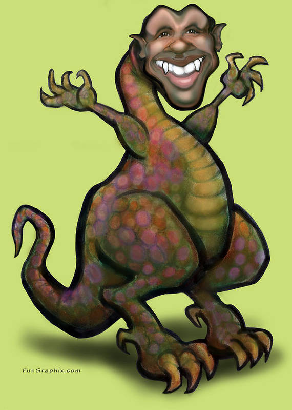 Barack Obama Poster featuring the greeting card Obama Saurus Rex by Kevin Middleton