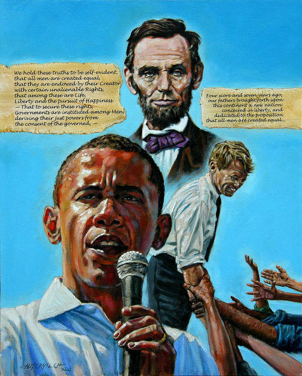 Obama Poster featuring the painting Obamas Heritage by John Lautermilch