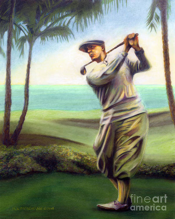 Golf Art Poster featuring the painting Ocean Drives by Mike Massengale