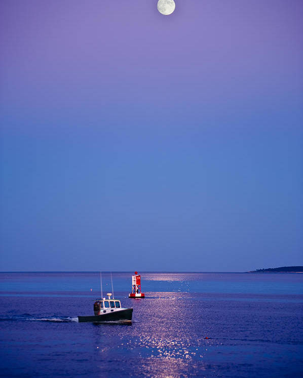 Maine Poster featuring the photograph Ocean Moonrise by Steve Gadomski