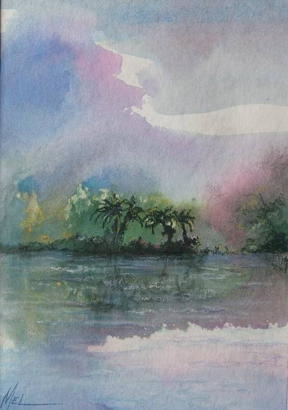 Tropical Island Poster featuring the painting Ocean Pearls by Melody Horton Karandjeff