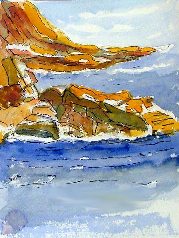 Watercolor Poster featuring the painting Ocean Scene by Jivantoro Mentis