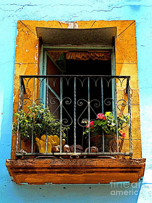 Darian Day Poster featuring the photograph Ochre Window In Turqoise by Mexicolors Art Photography
