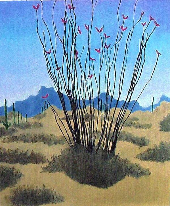 Realism Poster featuring the painting Ocotillo by Bernard Goodman