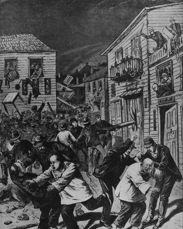 History Poster featuring the photograph October 31, 1880 Anti-chinese Riot by Everett