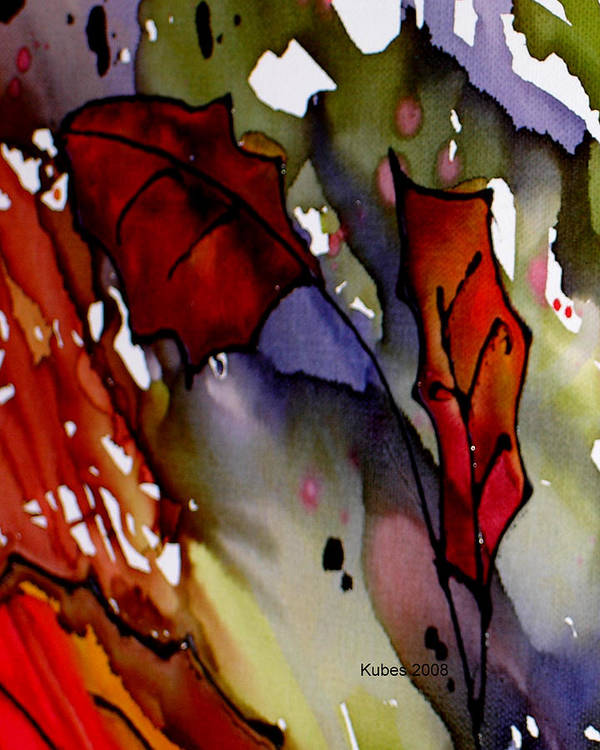 Leaf Poster featuring the mixed media Octoberfirst by Susan Kubes
