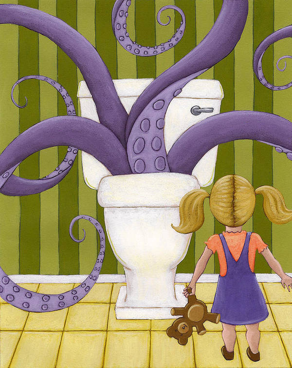Bathroom Poster featuring the painting Octotoillet by Christy Beckwith