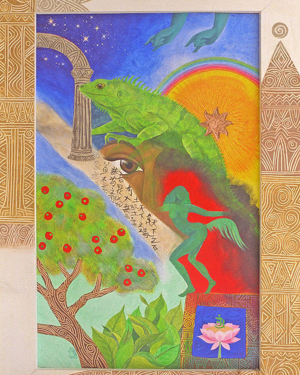 Mystical Spiritual Tropical Iguana Tao Lotus Flower Poster featuring the painting Ode by Jennifer Baird