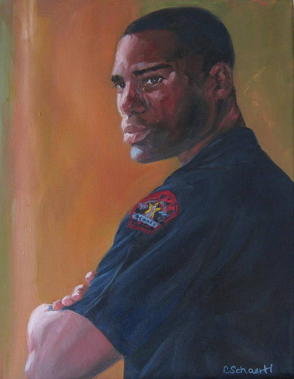 Police Officer Poster featuring the painting Officer by Connie Schaertl