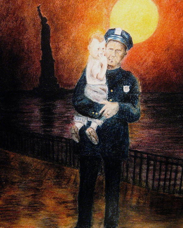 Police Poster featuring the pastel Officer Daddy by Larry Whitler