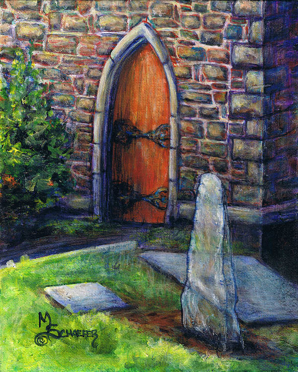 Kilarney Poster featuring the painting Ogham Stone by M Schaefer
