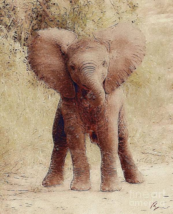 Animal Poster featuring the digital art Oh Baby What Big Ears You Have by Bryann Cole