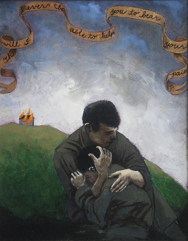 Men Poster featuring the painting Oh Will I Ever Be Able To Help You To Bear Your Pain by Pauline Lim