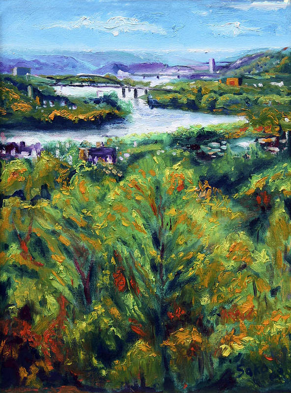Landscape Poster featuring the painting Ohio River From Ayers-limestone Road by Robert Sako