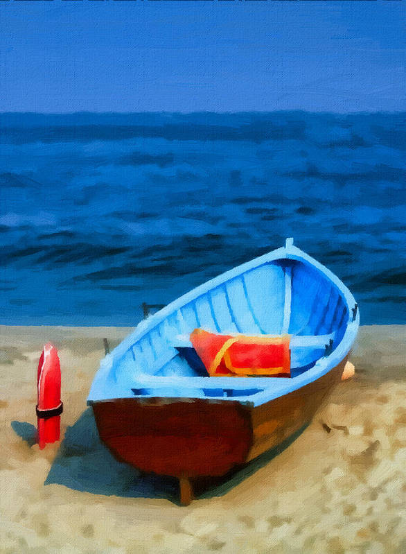 Poster featuring the painting Oil - Rescue Boat by Alex Zolotar
