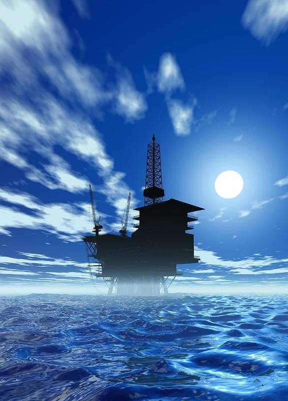 Artwork Poster featuring the photograph Oil Rig, Artwork by Victor Habbick Visions