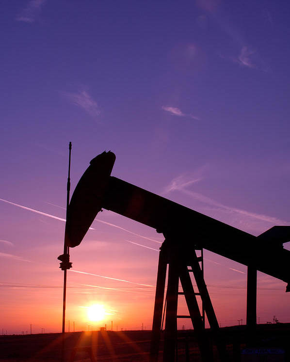 Oil Field Poster featuring the photograph Oil Rig At Sunset by Connie Cooper-Edwards