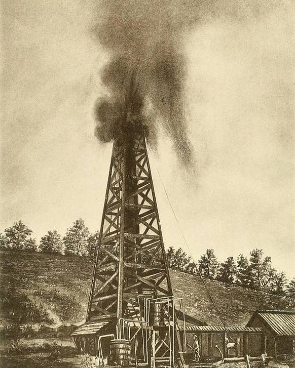 History Poster featuring the photograph Oil Well With A Gusher In The Oil by Everett
