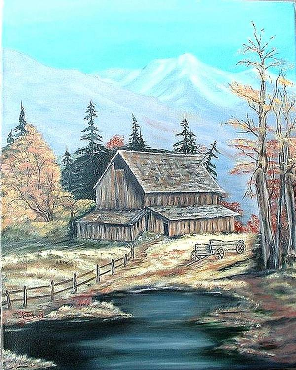 Landscape Pond Wagon Old Trees Mountain Poster featuring the painting Old Barn Above The Pond by Kenneth LePoidevin
