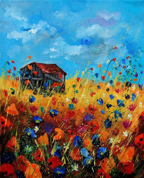 Poppies Poster featuring the painting Old Barn by Pol Ledent