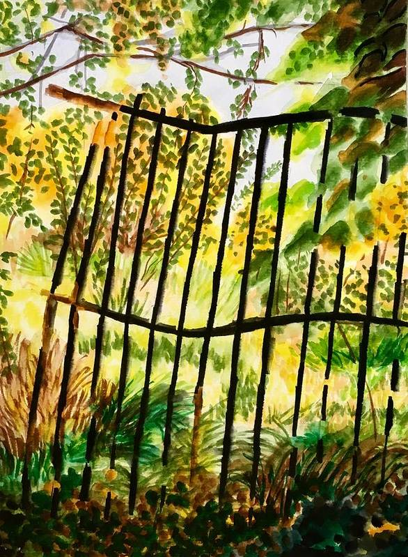 Gate Poster featuring the painting Old Bent Gate by Judy Swerlick