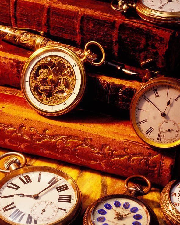 Book Poster featuring the photograph Old Books And Pocket Watches by Garry Gay