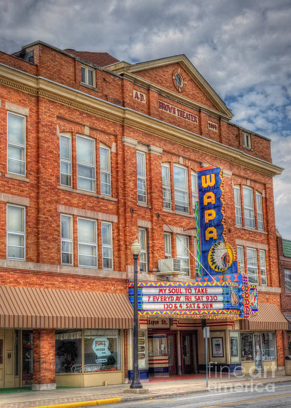 Theater Poster featuring the photograph Old Brown Theater - Wapak Theater by Pamela Baker