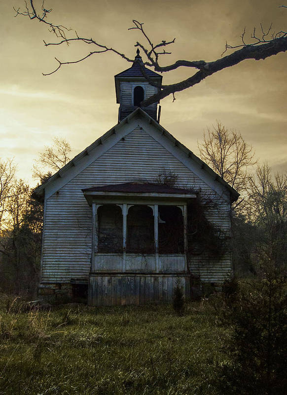 Old Church Blountville Poster featuring the photograph Old Church At Sunset by Krystal Riffice