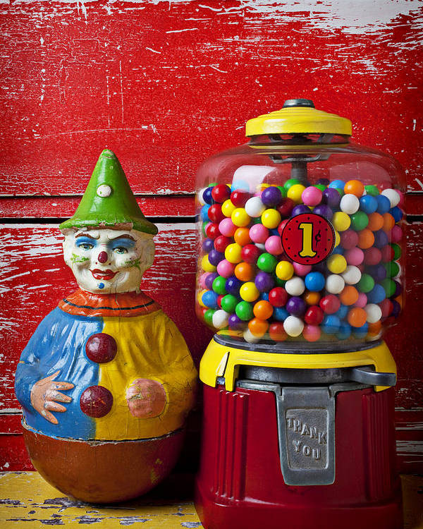 Old Clown Toy Poster featuring the photograph Old Clown Toy And Gum Machine by Garry Gay