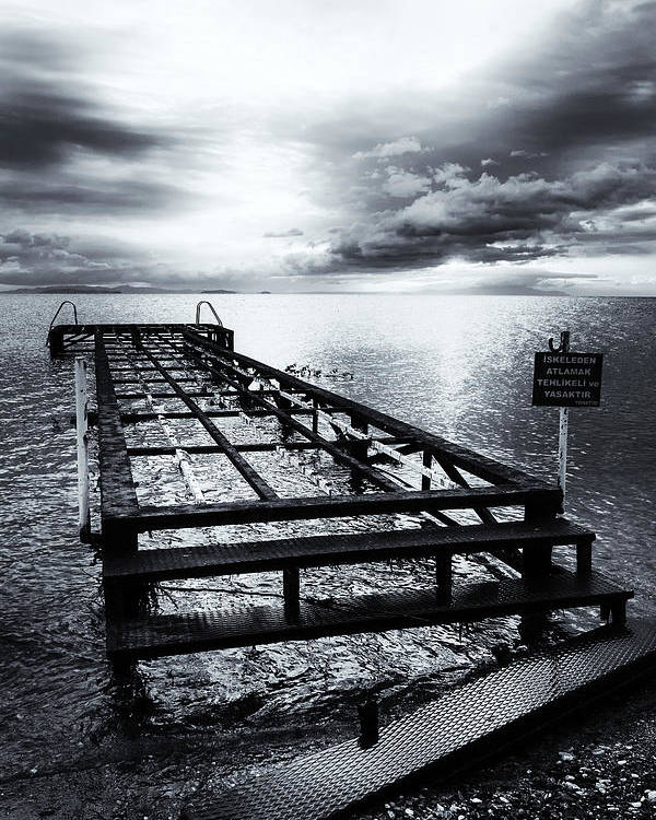 B&w Poster featuring the photograph Old Dock Bw by Dogukan Benli