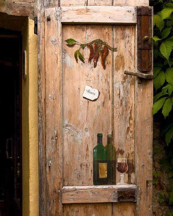 Old Door Poster featuring the photograph Old Door And Wine by Sally Weigand