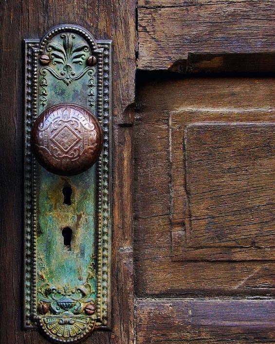 Antique Door Poster featuring the photograph Old Door Knob by Joanne Coyle