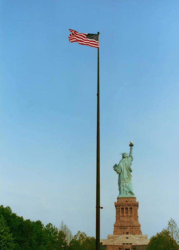 Statue Of Liberty Poster featuring the photograph Old Glory And Lady Liberty by Mark Fuller