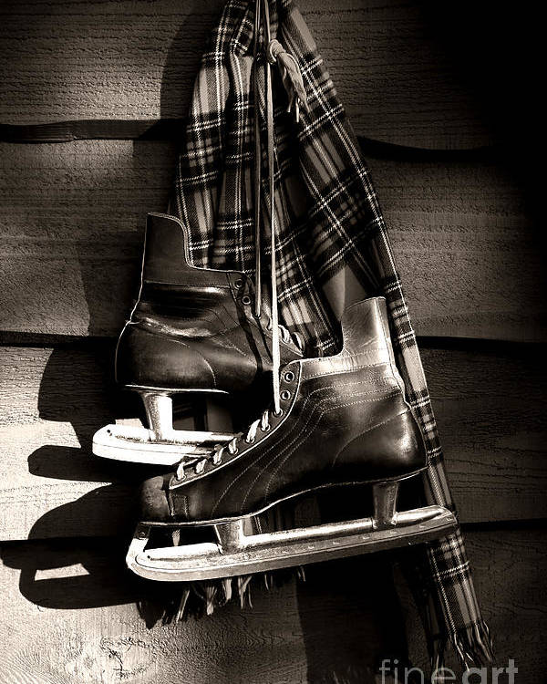 Blades Poster featuring the photograph Old Hockey Skates With Scarf Hanging On A Wall by Sandra Cunningham